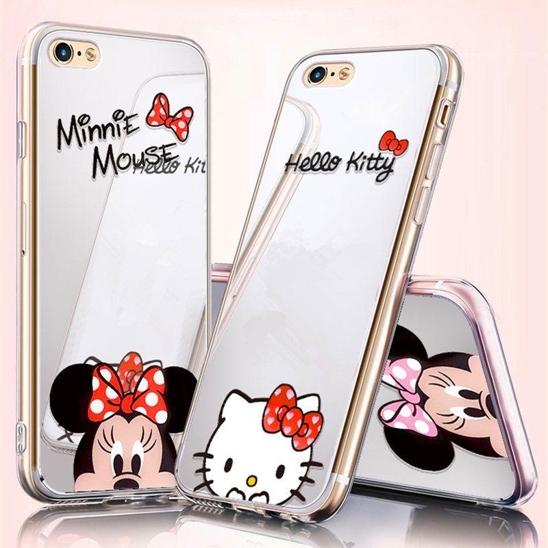Luxus Leuchtenden Niedlichen Cartoon Mickey Minnie Maus Spiegel Telefonkasten Soft Cover Für iphone X 8 8 plus 7 7 plus 6 6 s plus 5 5 s se Capa