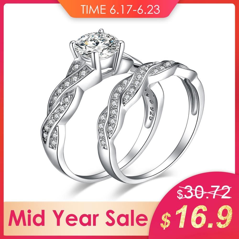 Bijoux palace 925 argent Sterling Infinity X simulé diamant CZ bandes de mariage anniversaire promesse bague de fiançailles ensembles de mariée