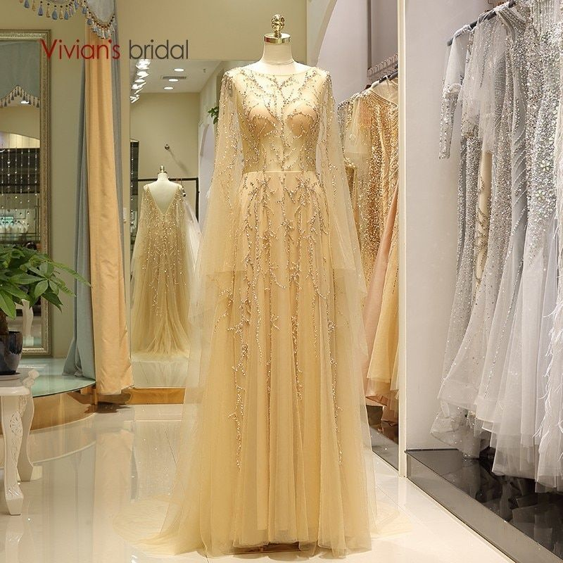 Vivian's Bridal Fashion Golden Tulle A-line Formal Evening Dress Luxury Whole Hand Made Sequin Beading Crystal Appliques Gowns