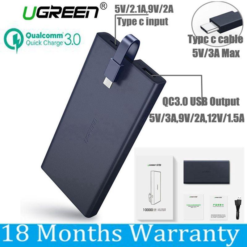 Ugreen 10000 mah Power Bank 10000 mah Quick Charge 3,0 Power Typ C für Xiaomi Mi5 Samsung S8 Nexus 5X6 p Macbook 12 Batterie
