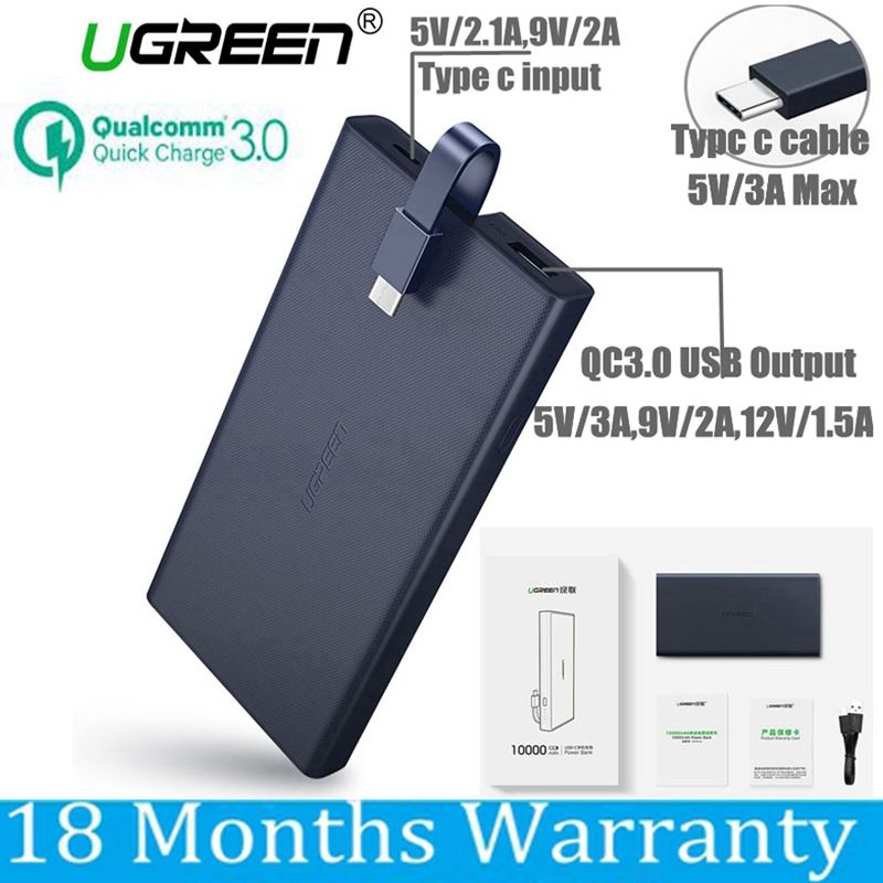 Ugreen 10000mah Power Bank 10000 mah Quick Charge 3.0 Powerbank Type C for Xiaomi Mi5 Samsung S8 Nexus 5X 6P Macbook 12 Battery
