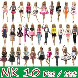 NK 10 Pcs  Princess Doll Dress Noble Party Gown For Barbie Doll Accessories Fashion Design Outfit Best Gift For Girl' Doll JJ