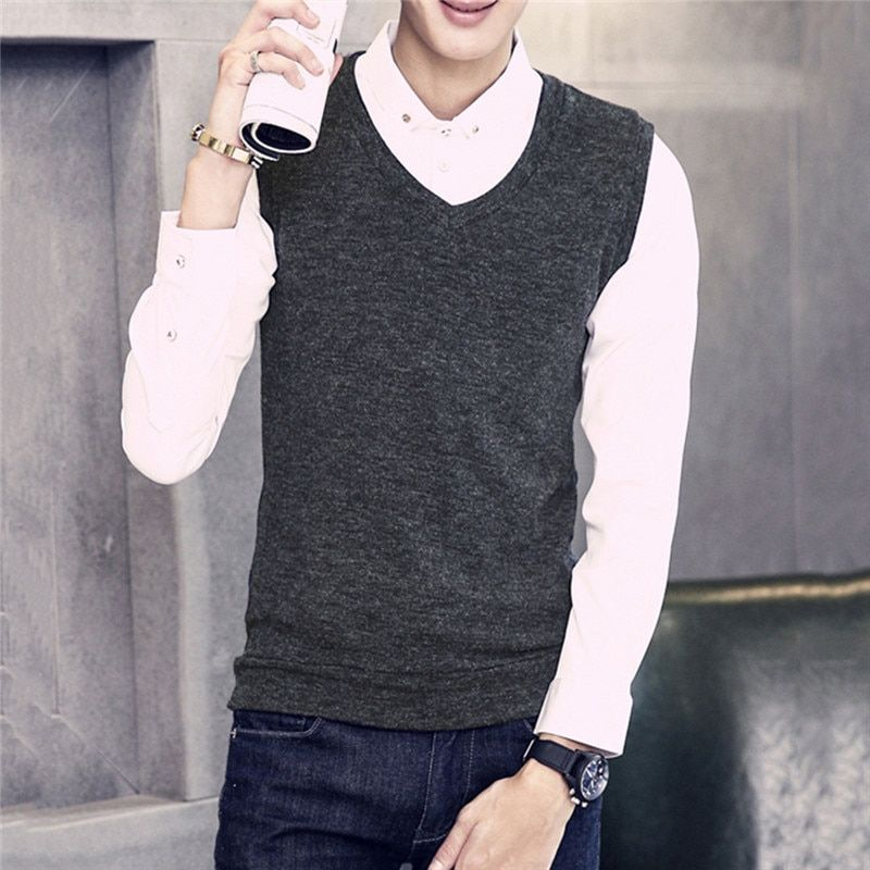 Mens Sweater Vest Slim Fit Comfortable Boys Vest Sweaters Pullover Casual Sleeveless V Neck New Arrival 0487