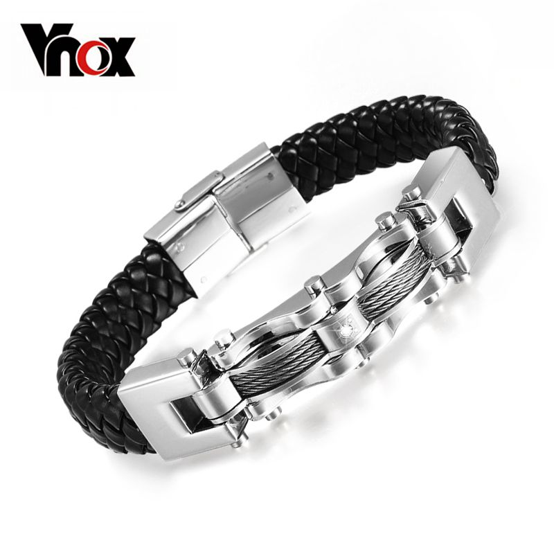 Vnox Handmade Leather Weaved Bracelets for Man Stainless Steel Wire With Zirconia Wristband