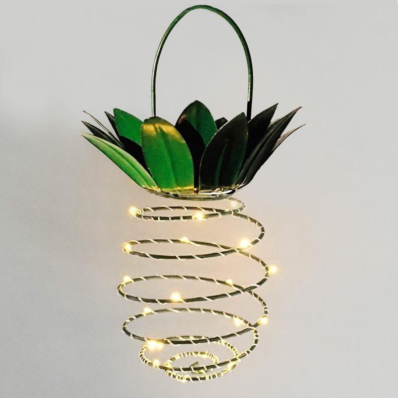 Lumières solaires de jardin décor extérieur ananas chemin solaire lumières suspendues lumières féeriques, étanche 20 Led solaire chaude chaîne de fée