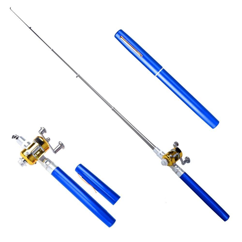 Portable de Poche Télescopique Mini canne à pêche Pen Forme Plié stylo canne à pêche de canne à pêche Avec moulinet