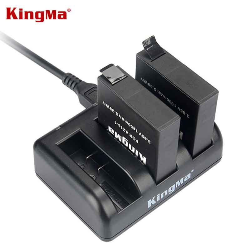 KingMa pour Xiaomi YI 2 II 4 K 1000 mAh batterie Rechargeable (paquet de 2) et double chargeur USB pour Xiaomi YI 4 K Plus caméra d'action II 2
