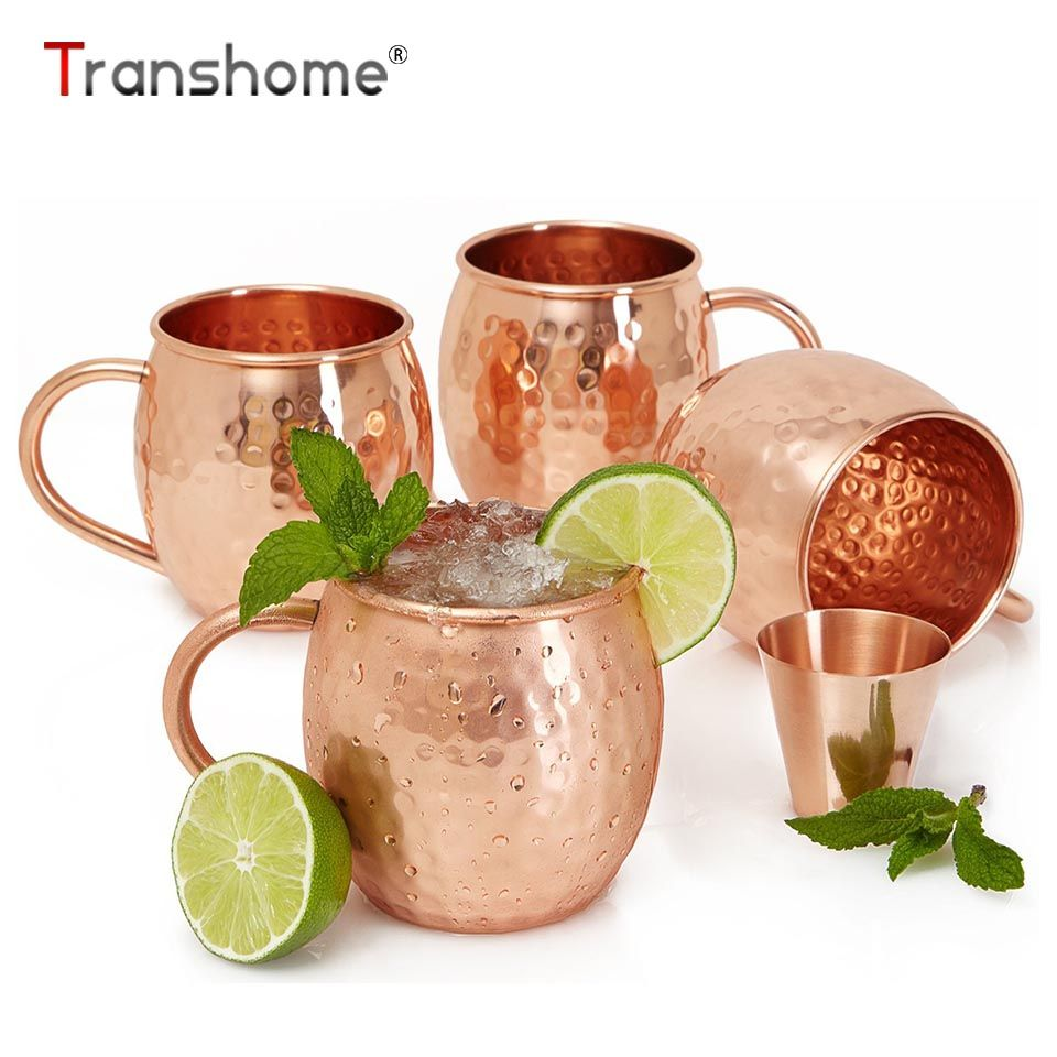 Transhome 4pcs Moscow Mule Copper Mugs 550ML/16oz Rose Gold Black Stainless Steel Moscow Mule Mugs For Beer Coffee Tea