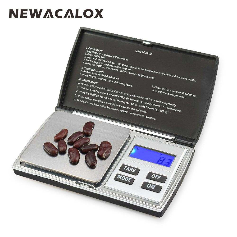 NEWACALOX 500g x 0.01g Digital Precision Scales for Gold Jewelry Scale 0.01 Pocket Balance Electronic Stainless <font><b>Steel</b></font> Scales