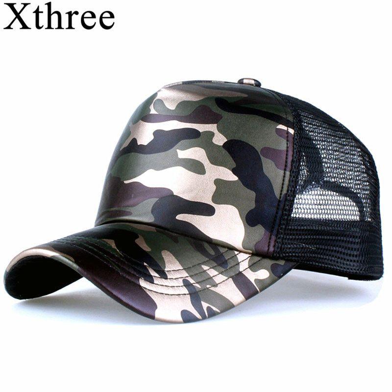 Xthree 5 panels sommer baseball-cap mesh cap kunstleder Camouflage hysteresenhut männer hip hop casquettes hüte für frauen knochen