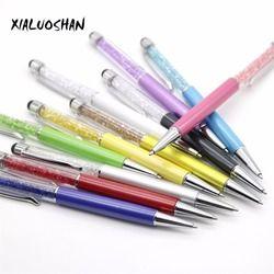 1 Pcs Creative Crystal Pen Diamond Ballpoint Pens Stationery Ballpen Stylus Pen Touch Pen 11 Colors Oily Black Blue Refill 0.7mm