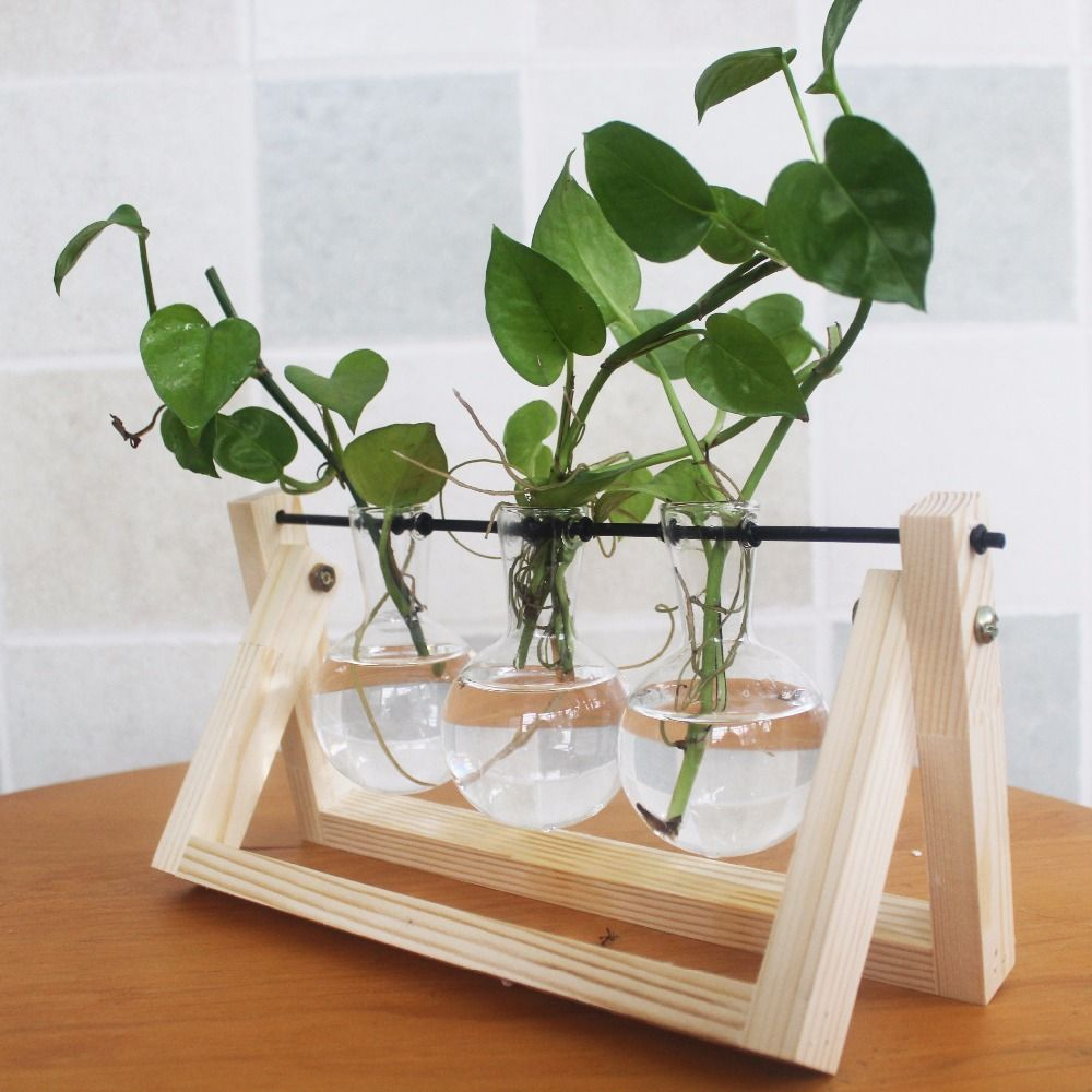 Pine Wood Modern Style Glass Tabletop Plant Bonsai Flower Wedding Decorative Vase With Wooden Tray Home Decoration Accessories