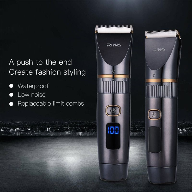 Rechargeable Hair Clipper Professional Hair Trimmer Fast Charge Shaving Machine Waterproof LED Ceramic Blade Men's Haircut S50