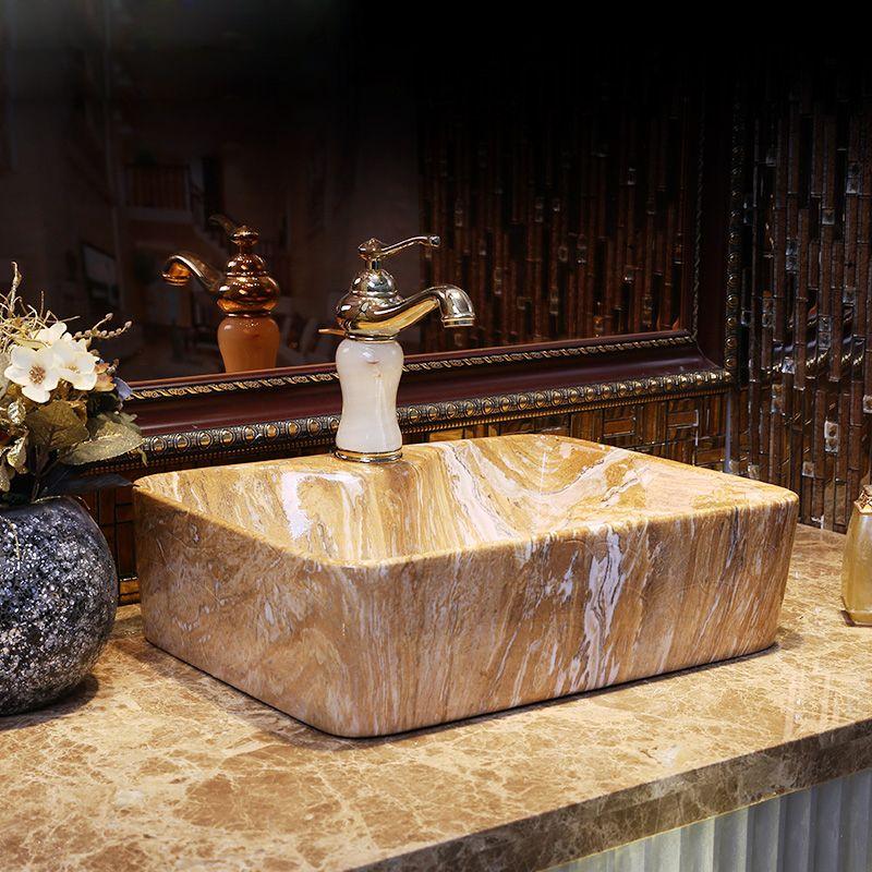 King of the Chinese style hand wash basin in Jingdezhen, Taiwan Basin, classical bathroom imitation stone decorative art basin