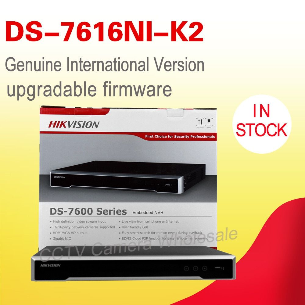 Free shipping DS-7616NI-K2 English version Embedded 4K NVR non POE H.265, 2SATA for up to 8MP camera