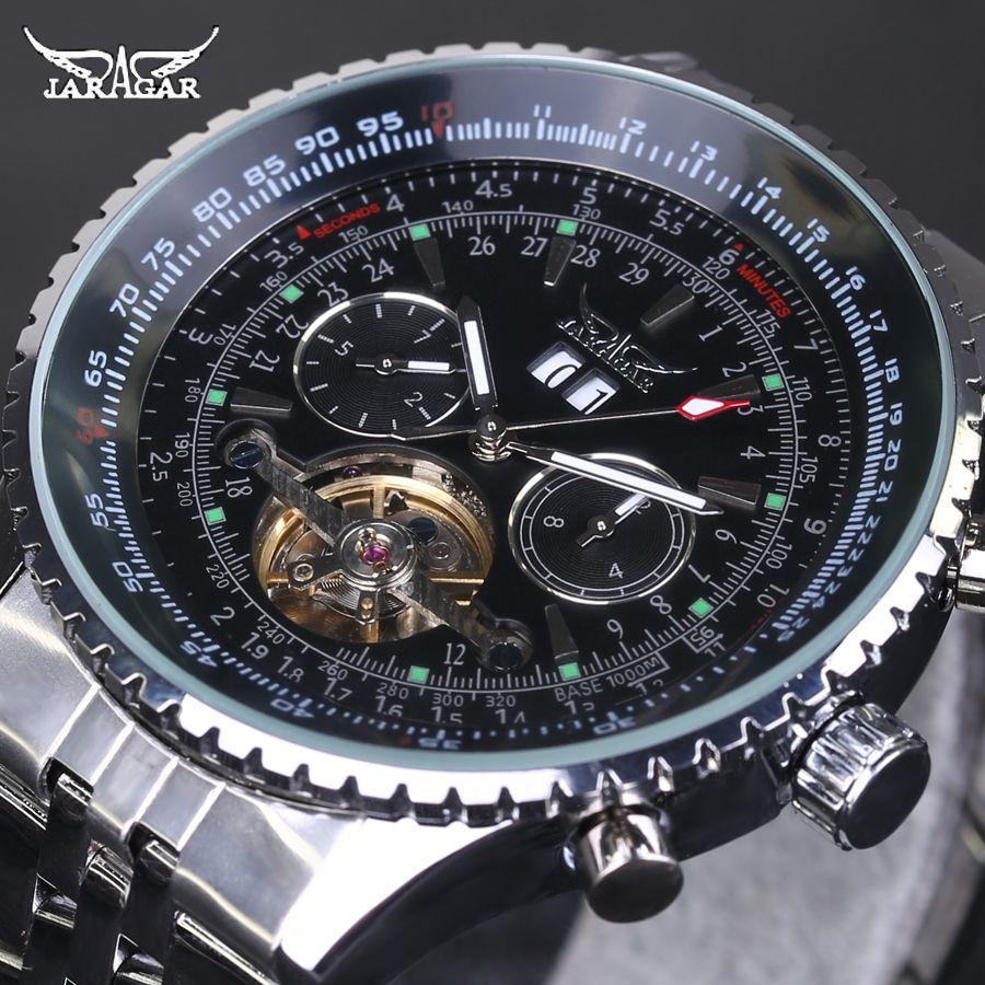 Men Watch Luxury Brand Jaragar Tourbillon Automatic Mechanical Watches Multifunction Men Watch Full Stainless Steel Montre Homme