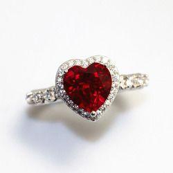 Красный рубин с драгоценным камнем в форме сердца Стерлинговое Серебро 925 обручальные кольца для женщин превосходные Свадебные украшения П...