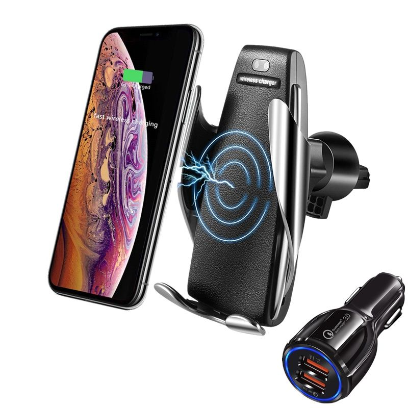 Car Mount Qi Wireless Charger For iPhone XS X 8 10W Automatic Induction Mobile Phone Fast Wirless Charger Air Vent Holder in Car