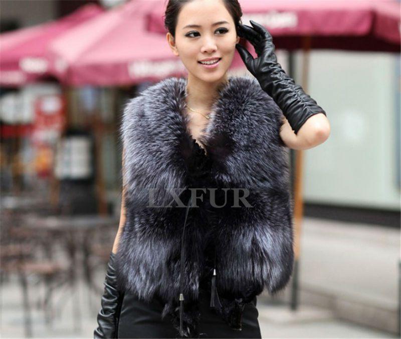 Mode Frauen Echtes Silber Fuchspelz Weste Casual Stück Silber Fox-pelz Gilet mit Verstellbarer Bund Ärmel Outwear LX00064
