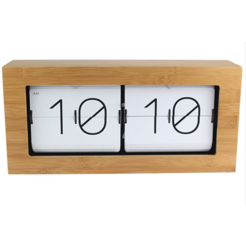 Exquisite wood bamboo automatically flip clock Pastoral home decoration Clocks