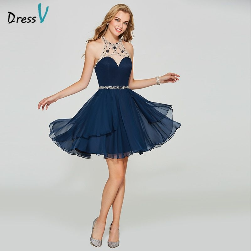Dressv dark navy blue homecoming dress scoop neck a line cheap zipper up sleeveless beading homecoming&graduation dresses