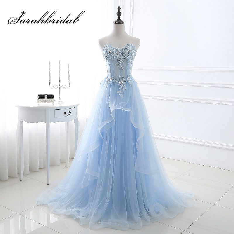 Cheap Sweetheart Sky Blue Evening Dresses with Lace Appliques 2018 Tulle A-Line Court Train Real Photos Prom Party Gowns OS066