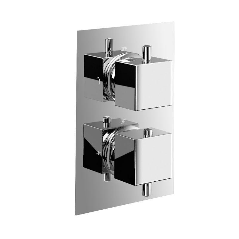 High Flow Brass Concealed Thermostatic Shower Valve Mixer Tap faucet 2 Dial 2 Way - Square 2 Way Mixer Faucet Cartridges11-103