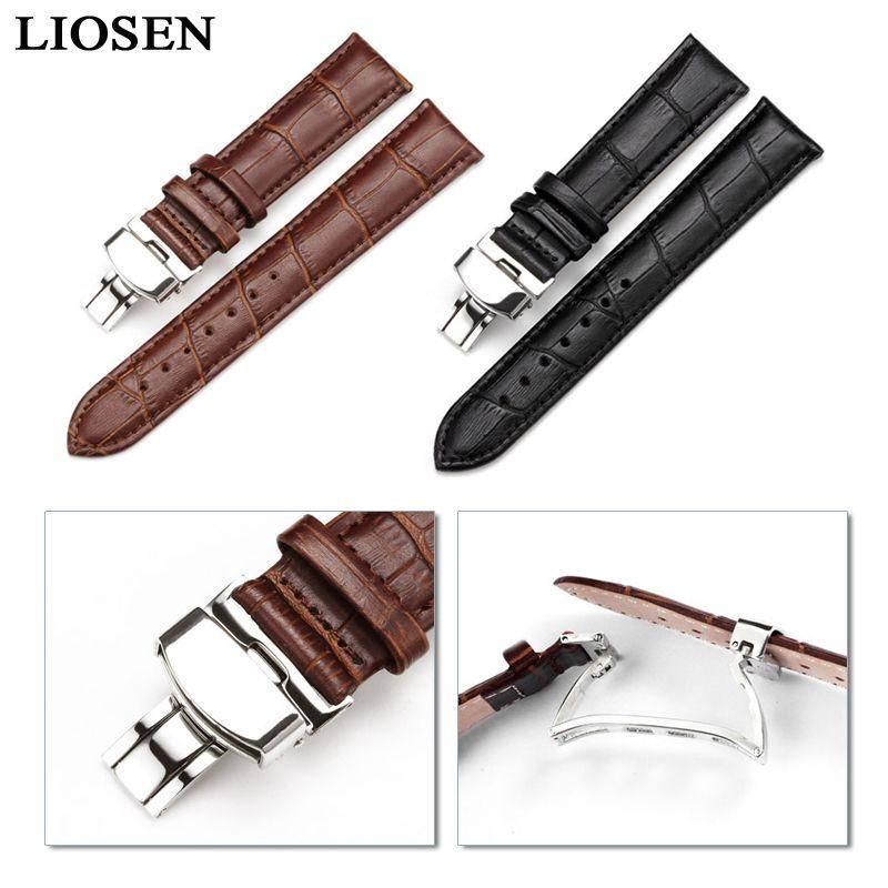LIOSEN Nouvelle Montre Bracelet Ceinture Noir Bracelets En Cuir Véritable Boucle Déployante bande de Montre 16-24mm Montre Accessoires Bracelet