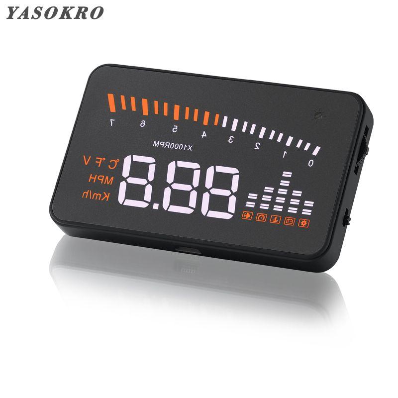 YASOKRO universel X5 HUD affichage tête haute voiture GPS voiture style OBD2 compteur de vitesse numérique alarme de survitesse pare-brise projecteur
