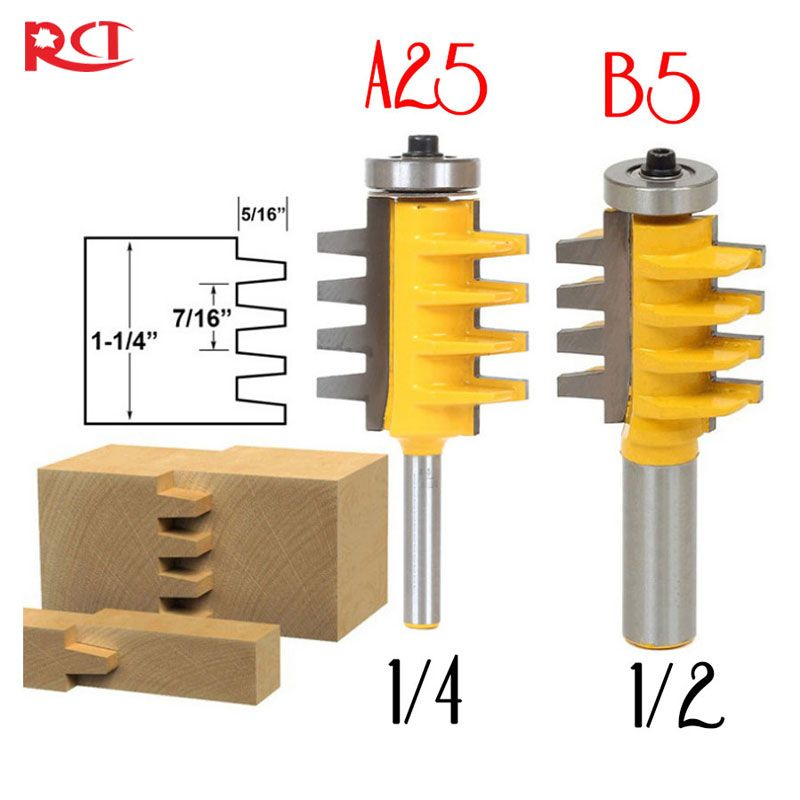 1/2, 1/4 Shank Rail Reversible Finger Joint Glue Router Bit Cone Tenon Woodwork Cutter <font><b>Power</b></font> Tools