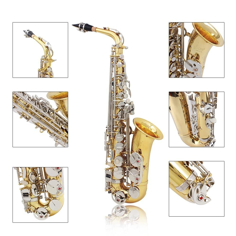 LADE Alto Saxophone Sax Glossy Brass Engraved Eb E-Flat Natural White Shell Button Wind Instrument