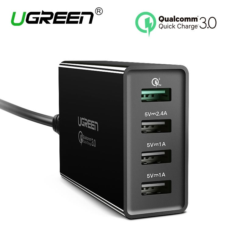 Ugreen 34W USB Charger Quick Charge 3.0 Fast Mobile Phone Charger for iPhone Samsung <font><b>Xiaomi</b></font> Nexus Tablet 4 Port Desktop Charger