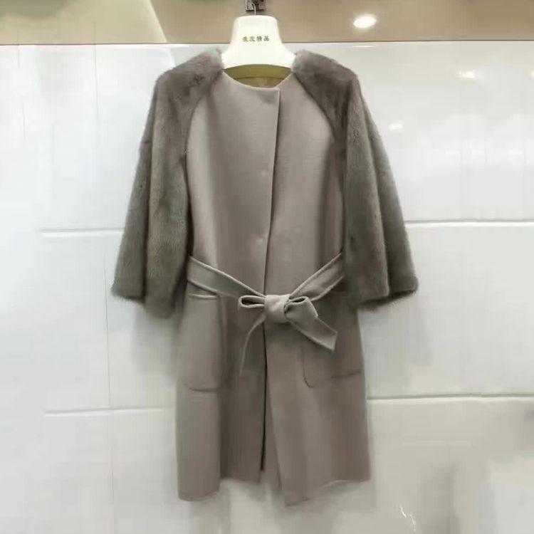 2018 women real cashmere coat with genuine European mink fur sleeve slim fashion luxury warm thin femme outwear jacket belt