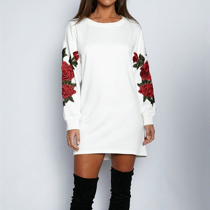 2017 Womens Vintage Embroidery Flower Round Neck Long Sleeve Casual Tops Blusas Mini Dress Sweatshirt Autumn Long Shirt Pullover