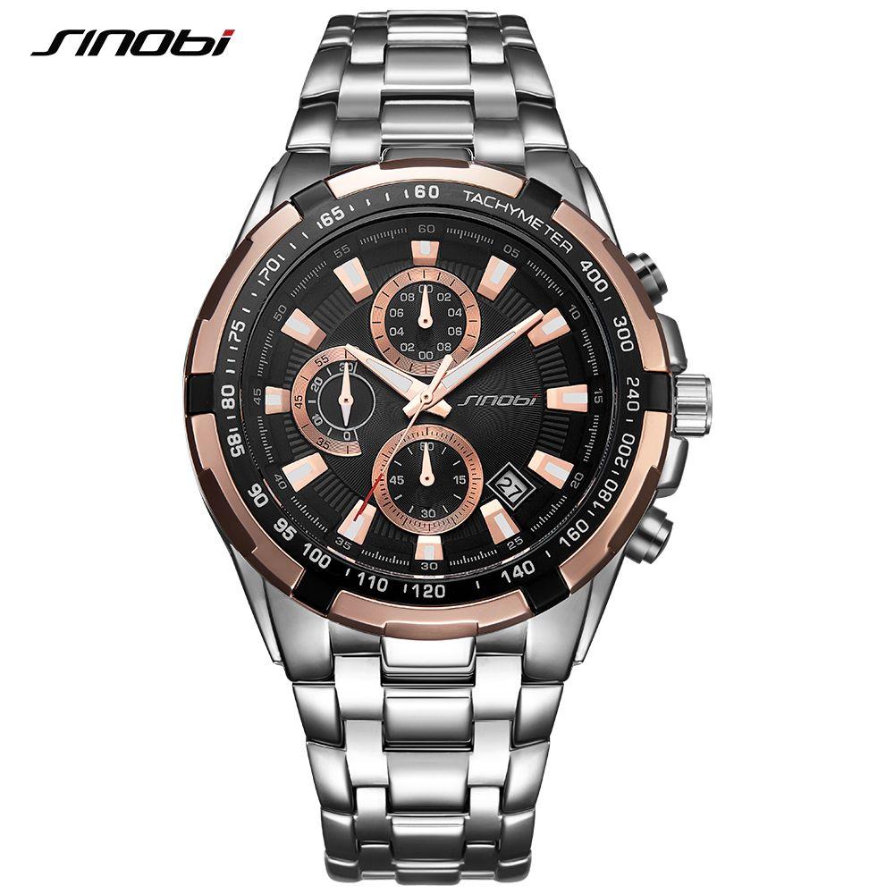 SINOBI Relogio Masculino Chronograph Herrenuhren Top-marke Luxus Fashion Business Quarzuhr Mann Sport Wasserdichte Armbanduhr