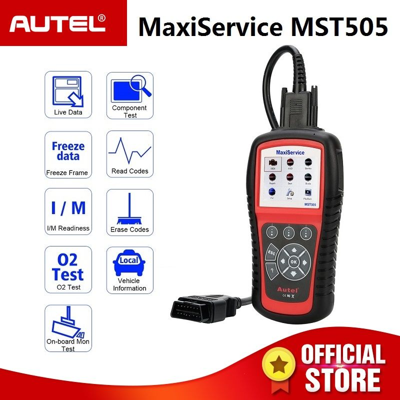 Autel MST505 OBD2 Code Reader Scanner for Audi Seat Skoda Cars All Systems Diagnosis Oil EPB Full OBDII Functions Printing Data