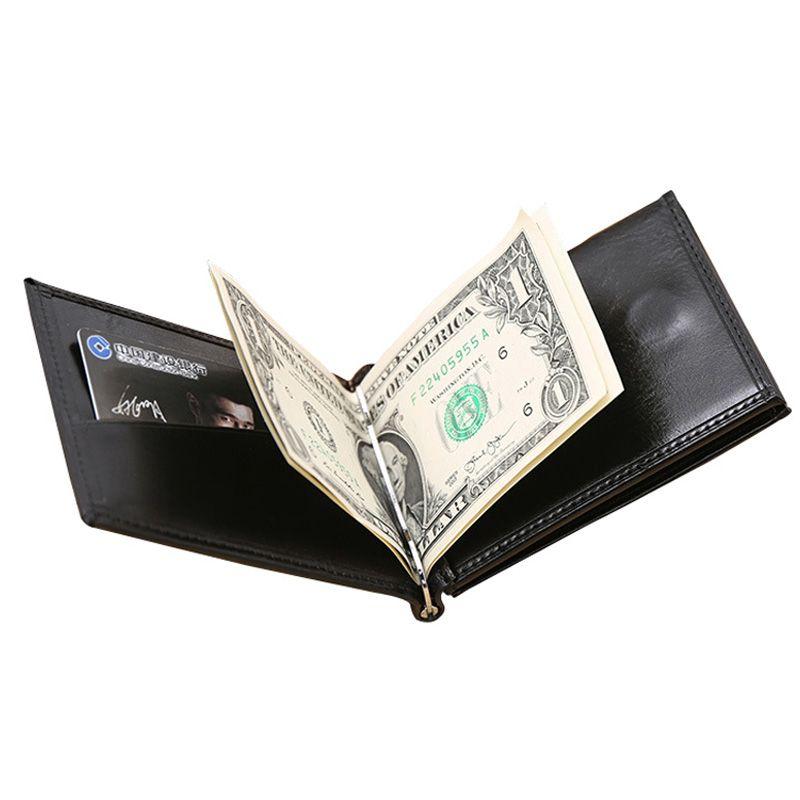 Nouvelle Marque De Luxe Homme D'affaires d'argent clip portefeuille avec pince métallique aimant hasp carte slots mince designer sac à main en cuir pour hommes