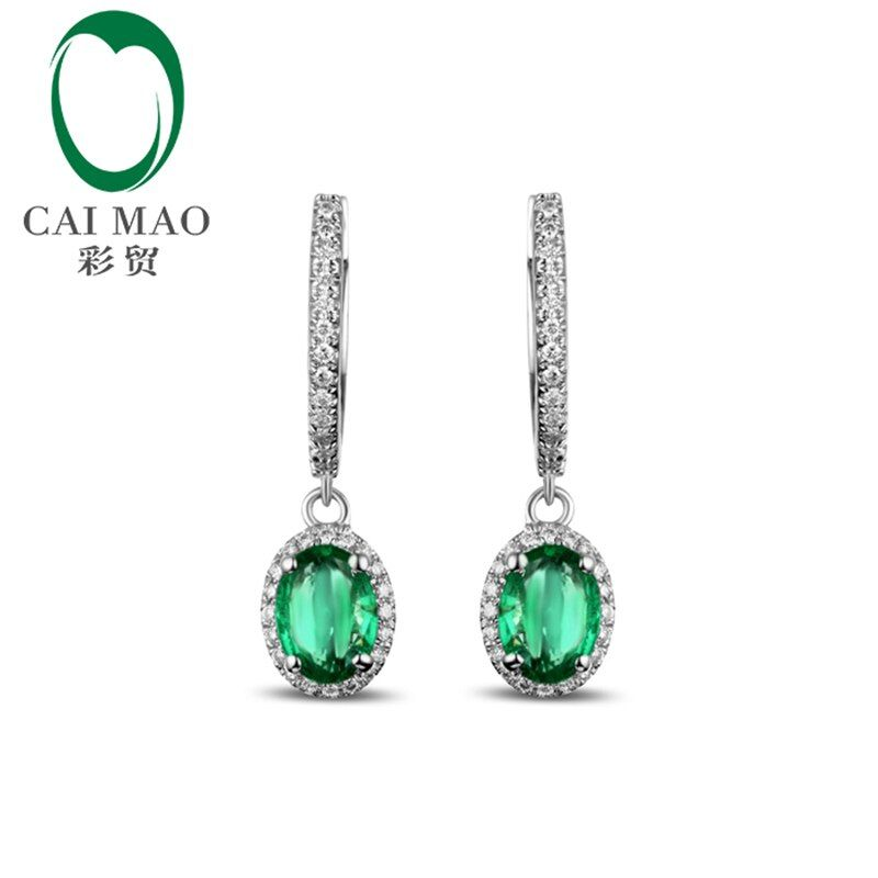 Caimao New Arrivals 14K White Gold Natural 1.65CT Emerald Diamond Engagment Earring