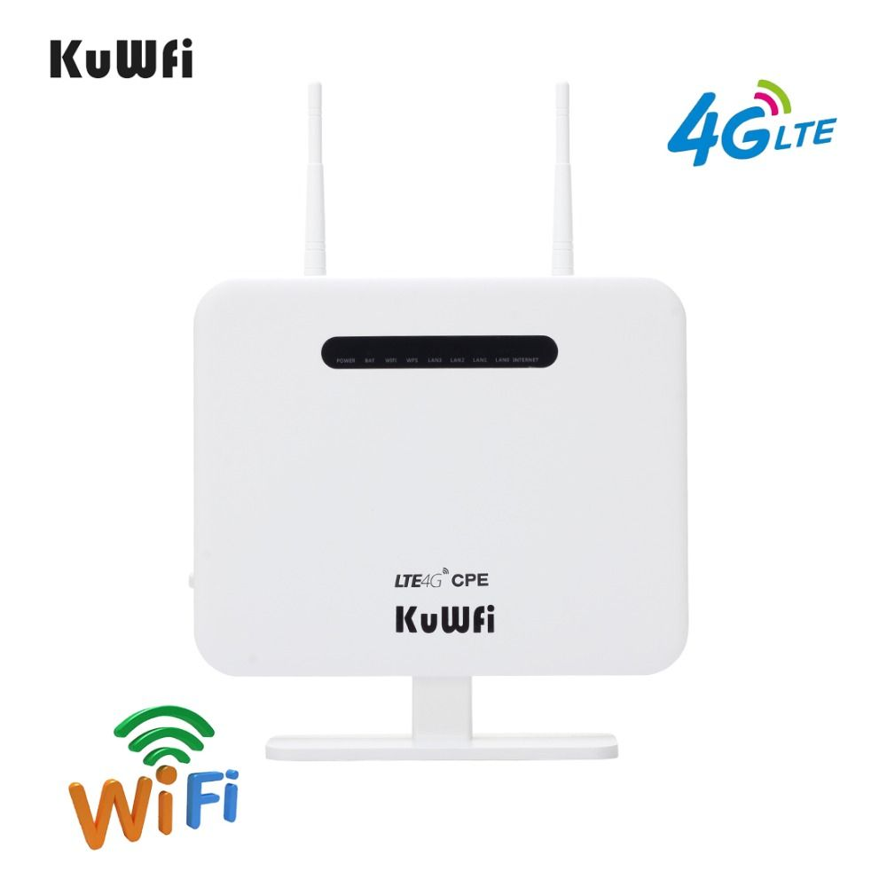 KuWFi Unlocked 300Mbps 4G CPE Router 3G 4G Wireless Mode Standard Wireless Modem AP Router With SIM Card Solt 5Dbi Antennas