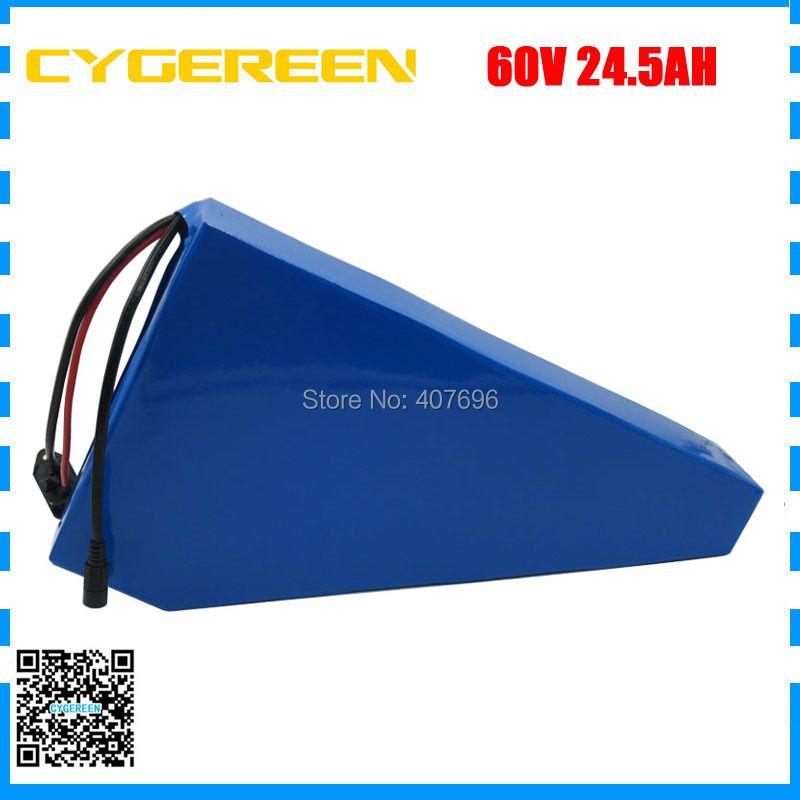 60 V 24.5AH lithium ebike batterie 60 V 25AH dreieck batterie 60 V AKKU verwenden samsung 3500 mah zelle 50A BMS mit freies tasche 2A Ladegerät