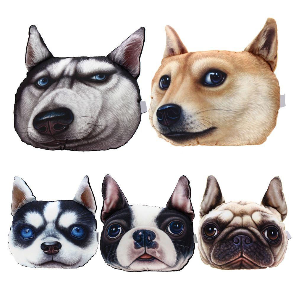 Creative 3D Printed Dog Pets Dace Car Headrest Pillow Activated Carbon Seat Cushion Supplies Neck Auto Pillow Car Decorative New