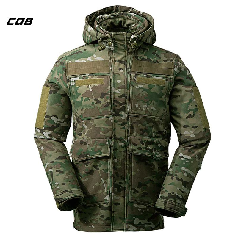 CQB Outdoor Tactical Military Sports Softshell Jacket Men Camouflage Water Repellent Camping Hiking Hunting Multi Pocket clothes