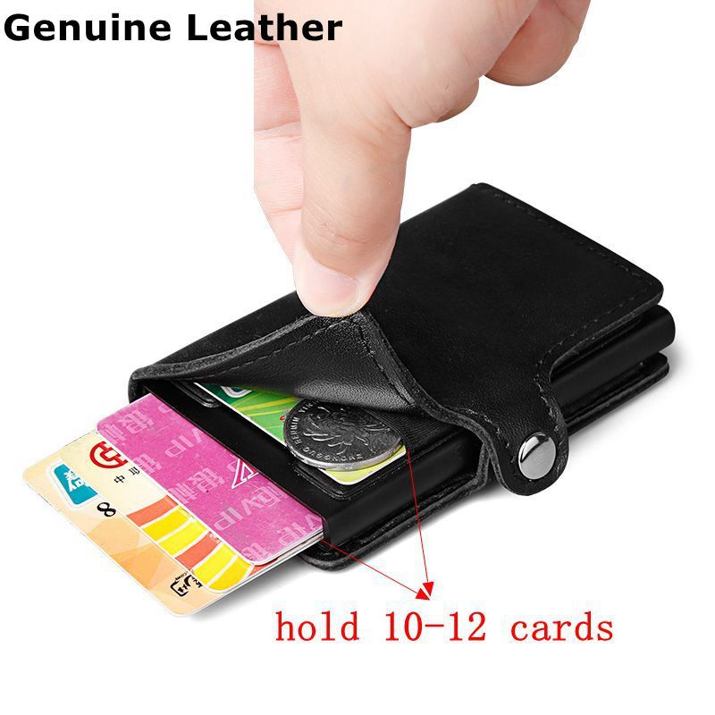 Men 100% Genuine leather Aluminum Wallet With Back Pocket ID Card Holder RFID Blocking Mini Slim Metal Wallet Pop up Credit Card