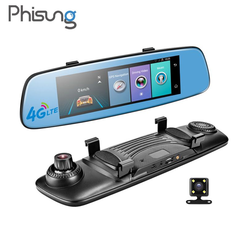 Phisung E06 4G Car DVR <font><b>7.84</b></font> Touch ADAS Remote Monitor Rear view mirror with DVR and camera Android Dual lens 1080P WIFI dashcam