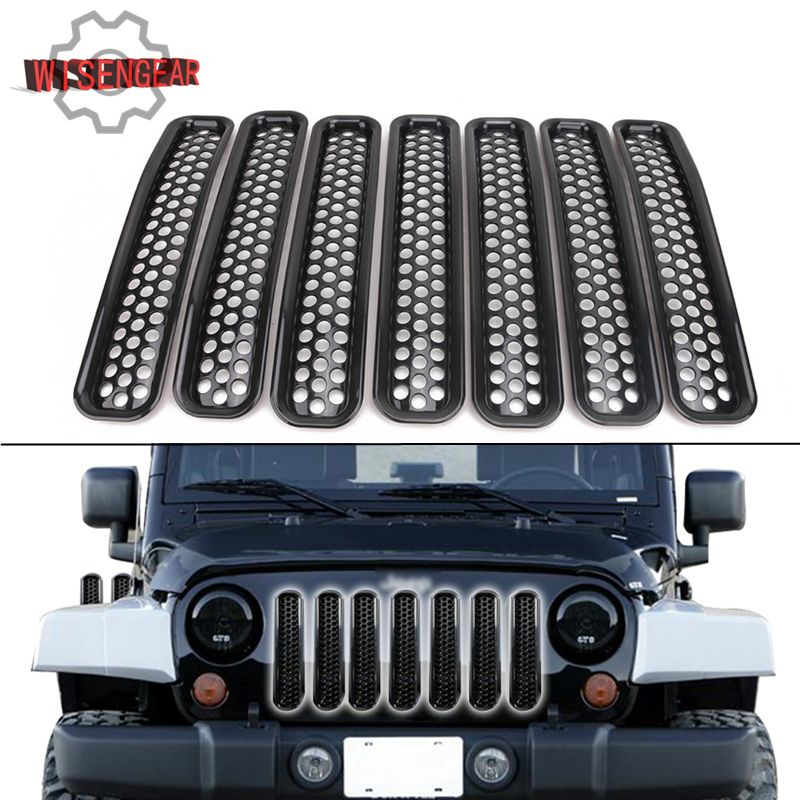Black Mesh Grille Inserts Grill For Jeep Wrangler TJ 1997-2006 Car Exterior Parts Front Radiator Air Intake Vent Trim #CEK128