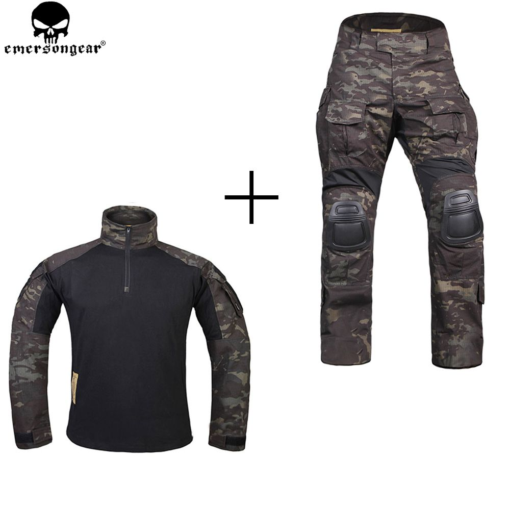 EMERSONGEAR Hunting Clothes Combat Pants with Knee Pads emerson Pants Multicam Shitr Black Tactical Camouflage Pants G3 Uniform