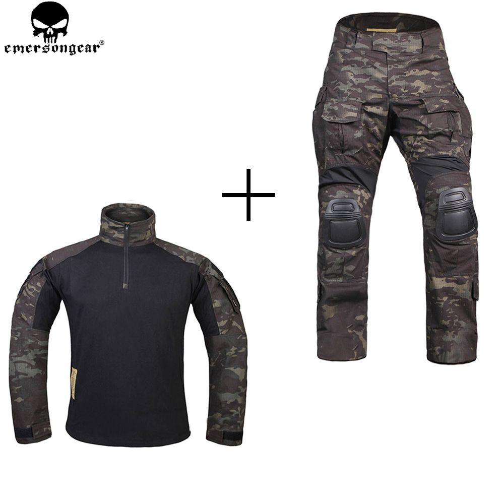 EMERSONGEAR Jagd Kleidung Kampf Hosen mit Knie Pads emerson Hosen Multicam Shitr Schwarz Taktische Camouflage Hosen G3 Uniform