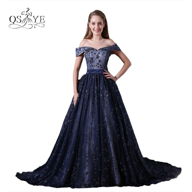 New Dark Navy Lace Formal Evening Dresses 2017 Elegant Off Shoulder Beading Stars Sweep Train Long Prom Dress Party Gown Custom