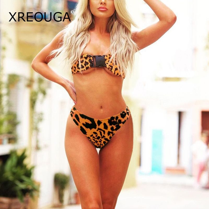 XREOUGA Sexy <font><b>Leopard</b></font> Bandeau Biquini Beach Button Swimsuit High Cut Bathing Suit New Brazilian Low Waist Thong Bikini For Women