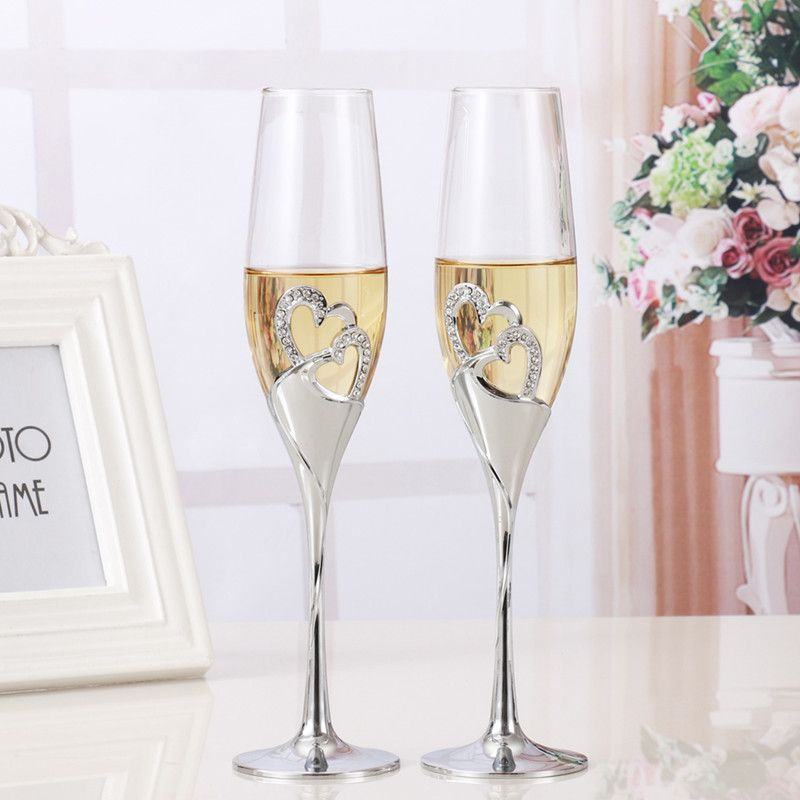 2 PCS / Set Crystal Wedding Toasting champagne flutes glasses Cup Wedding Party marriage decoration cup for Gift Wine Drink